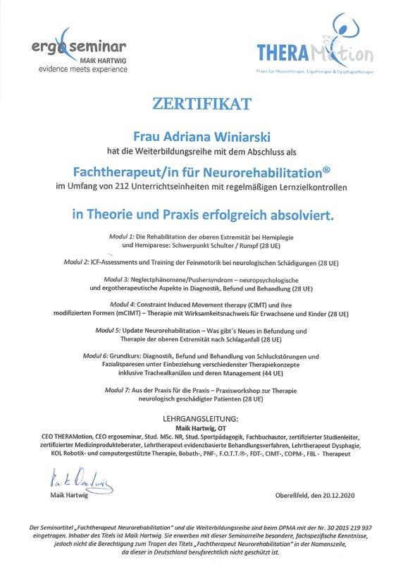 Adriana Zertifikat