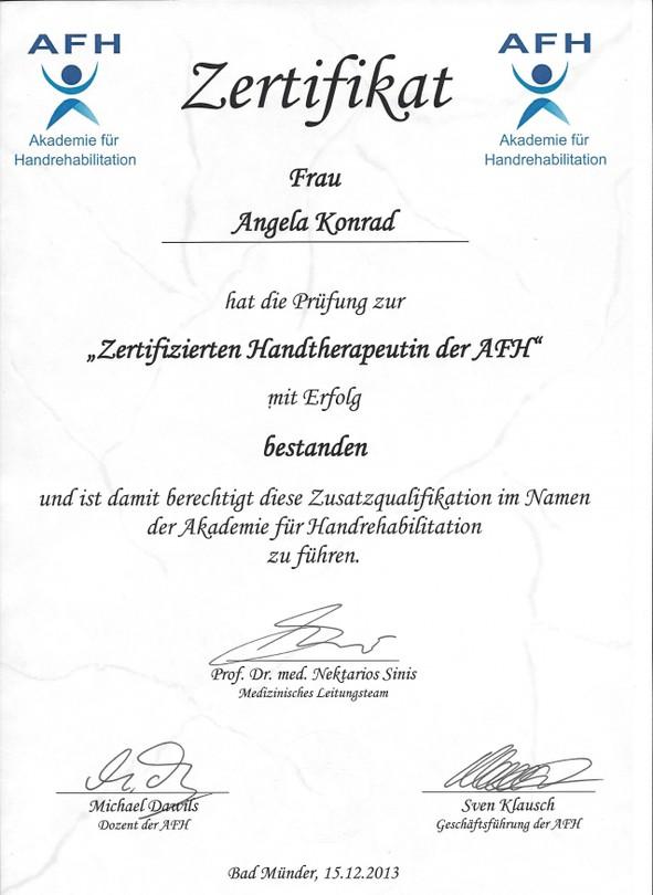 Angela AfH-Zertifikat