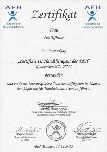 Iris AfH-Zertifikat