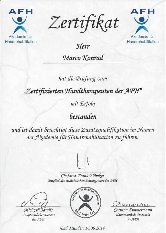 Marco AfH-Zertifikat