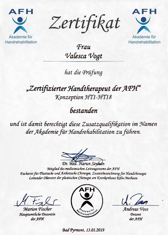 Valesca AfH-Zertifikat